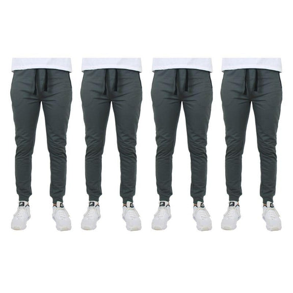 Men's Slim-Fit Joggers With Zipper Pockets - 4 Pack-Charcoal-S-