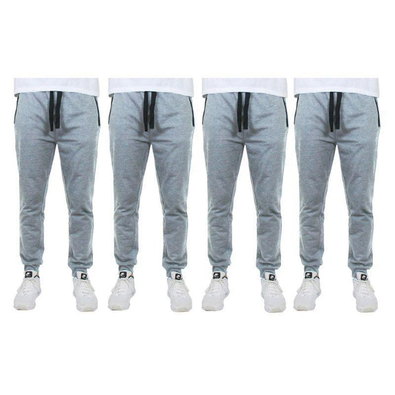 Men's Slim-Fit Joggers With Zipper Pockets - 4 Pack-Heather Grey-XL-
