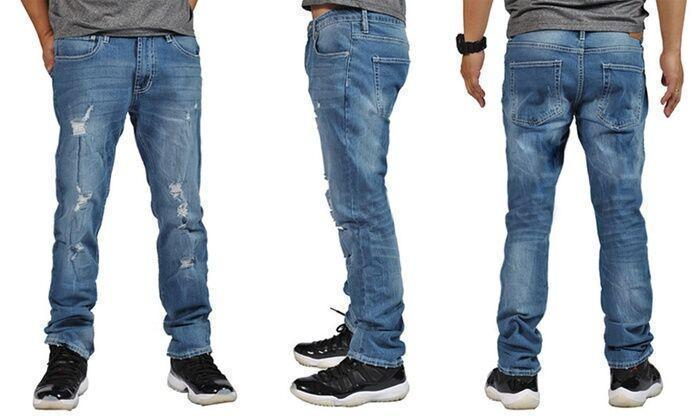 Daily Steals-Men's Slim Skinny Distress Denim Jeans-Men's Apparel-Med Blue-32x32-