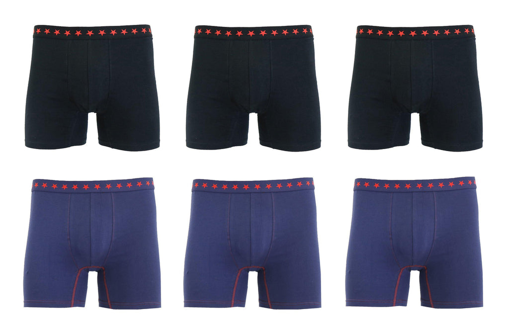 Daily Steals-Men's Soft Cotton Stretch Boxer Briefs - 6 Pack-Men's Apparel-Black and Navy-S-