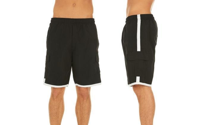 Daily Steals-Men's Solid-Color Quick-Dry Cargo Swim Trunks with Contrast Stripe-Men's Apparel-Black-M-