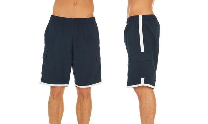 Daily Steals-Men's Solid-Color Quick-Dry Cargo Swim Trunks with Contrast Stripe-Men's Apparel-Blue-XL-