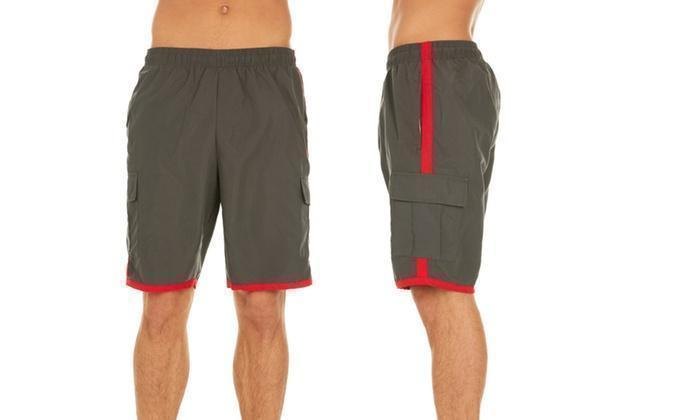 Daily Steals-Men's Solid-Color Quick-Dry Cargo Swim Trunks with Contrast Stripe-Men's Apparel-Grey-L-