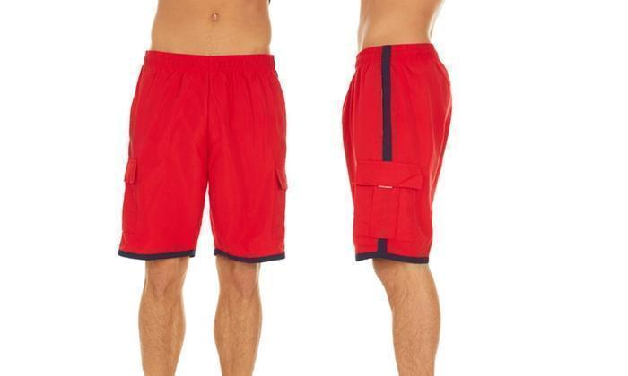 Daily Steals-Men's Solid-Color Quick-Dry Cargo Swim Trunks with Contrast Stripe-Men's Apparel-Red-L-