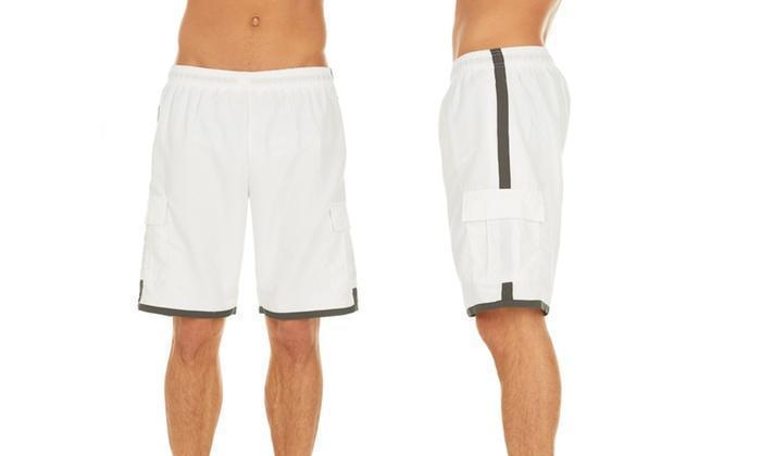 Daily Steals-Men's Solid-Color Quick-Dry Cargo Swim Trunks with Contrast Stripe-Men's Apparel-White-M-