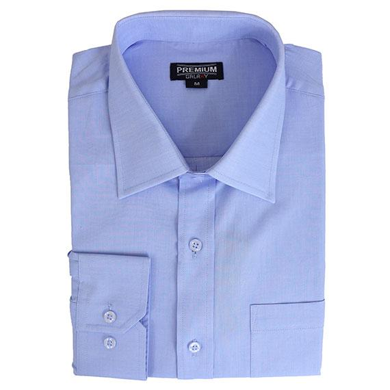 Daily Steals-Men's Solid or Striped Long Sleeve Dress Shirt-Men's Apparel-White-Blue-S-