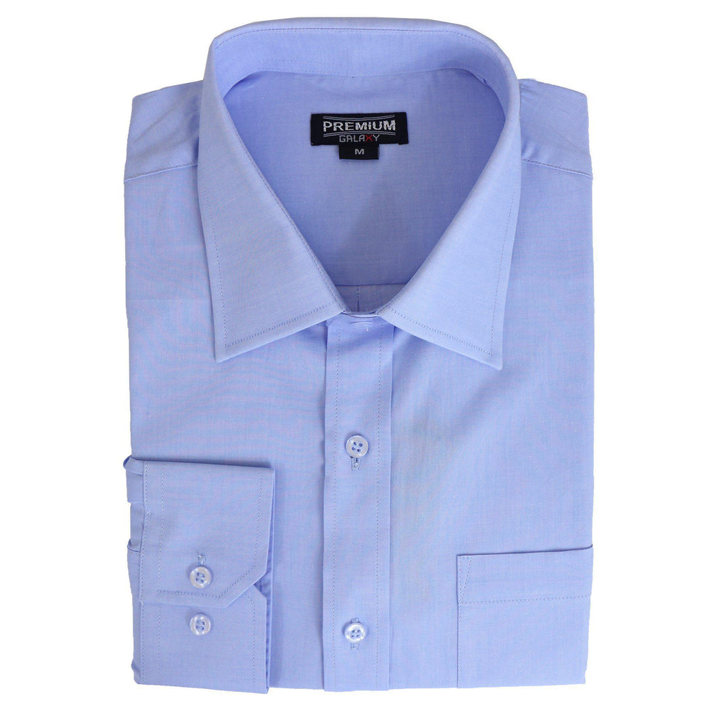 Daily Steals-Men's Solid or Striped Long Sleeve Dress Shirt-Men's Apparel-Light Blue-S-