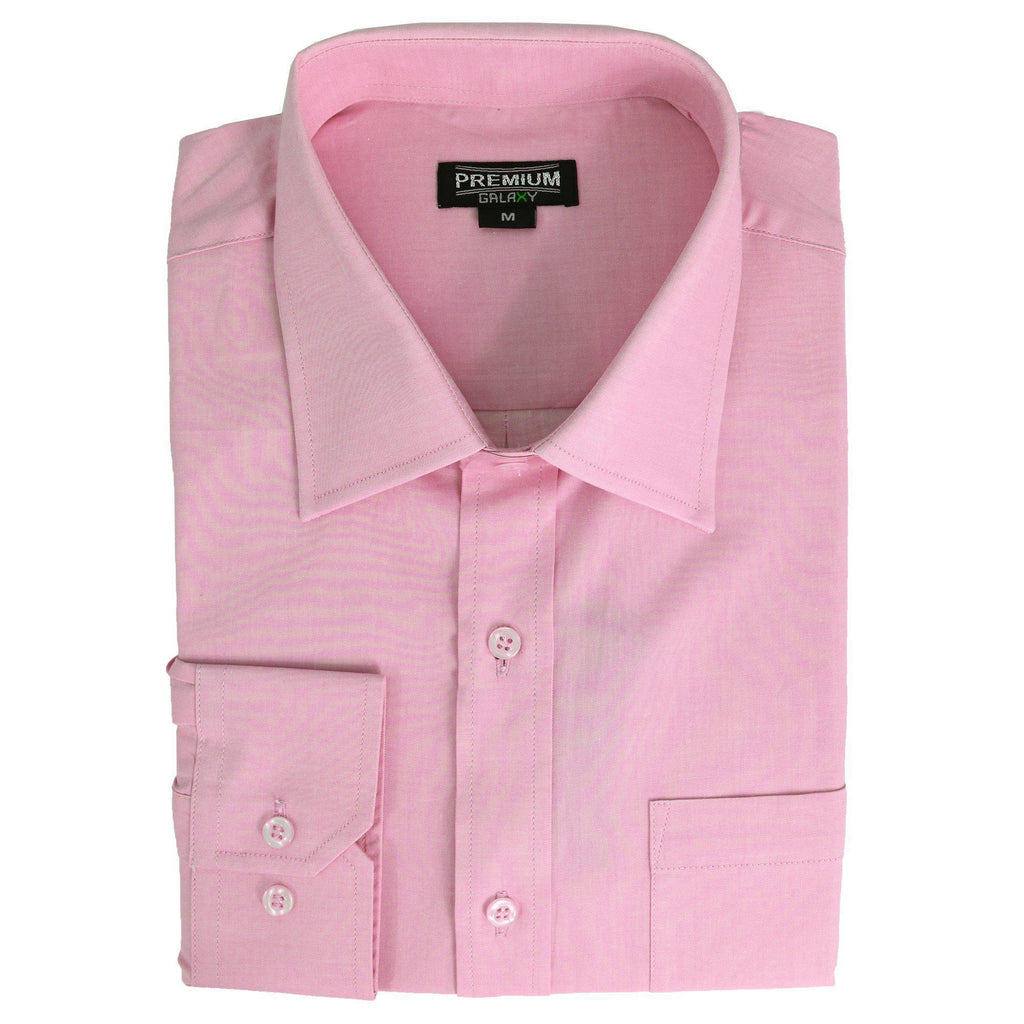 Daily Steals-Men's Solid or Striped Long Sleeve Dress Shirt-Men's Apparel-Pink-S-