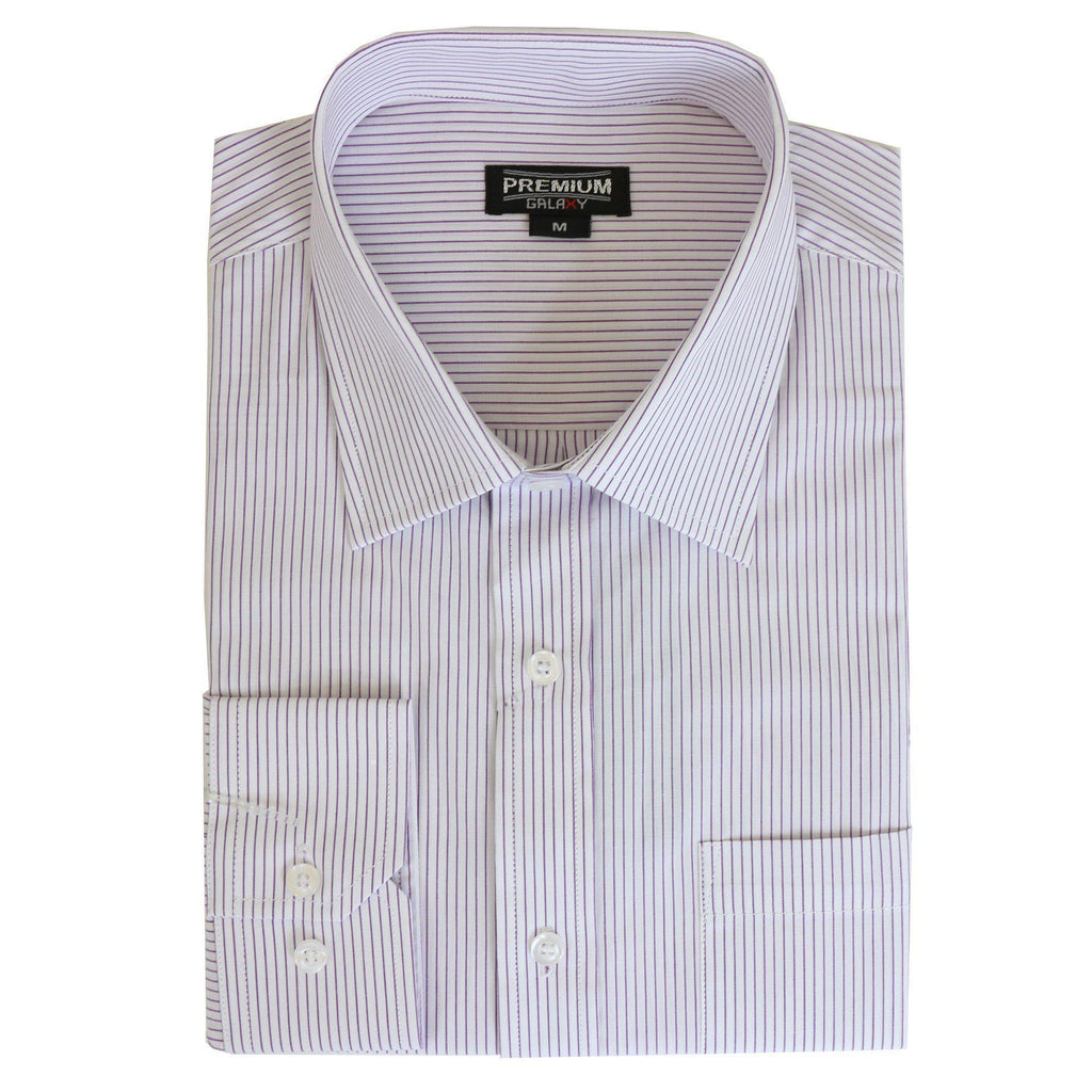Daily Steals-Men's Solid or Striped Long Sleeve Dress Shirt-Men's Apparel-White-Purple-S-