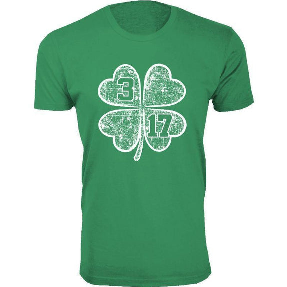 Men's St. Patrick's Day Lucky T-Shirts-Clover 3 17 - Green-XL-Daily Steals