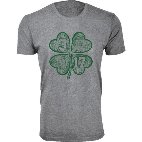 Men's St. Patrick's Day Lucky T-Shirts-Clover 3 17 - Heather Grey-L-Daily Steals