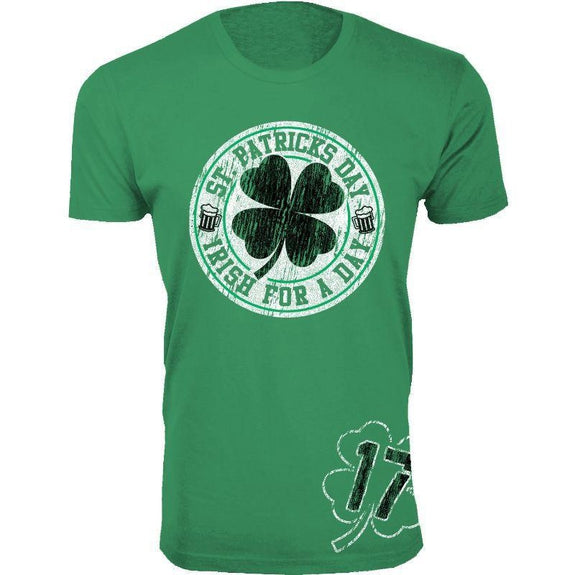 Men's St. Patrick's Day Lucky T-Shirts-Irish for a Day 17 - Green-S-Daily Steals