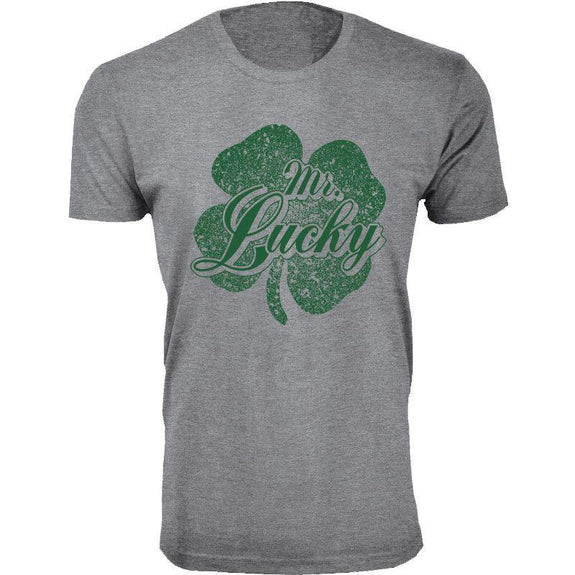Men's St. Patrick's Day Lucky T-Shirts-Mr. Lucky - Heather Grey-S-Daily Steals