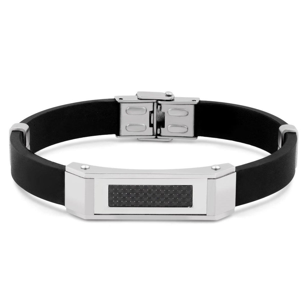 Daily Steals-Men's Stainless Steel Checkered Design Bracelet-Jewelry-