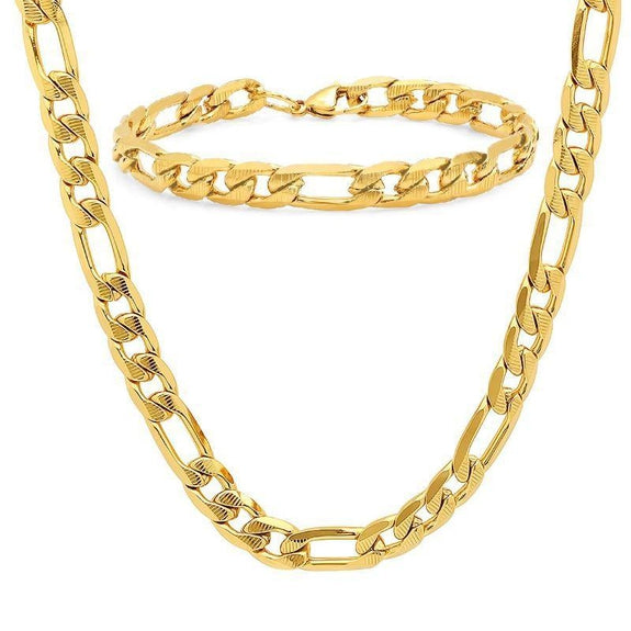 Men's Stainless Steel Cuban Link Chain Bracelet and Necklace Set-Gold Plated Figaro Set-