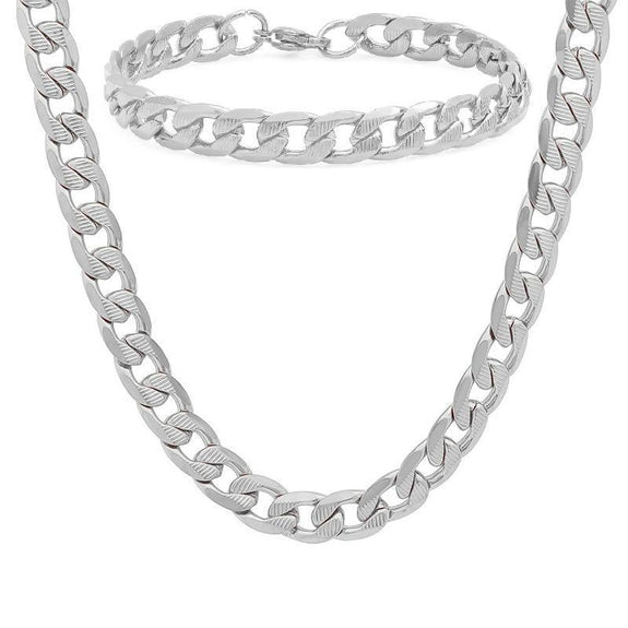 Men's Stainless Steel Cuban Link Chain Bracelet and Necklace Set-Stainless Steel Cuban Link-