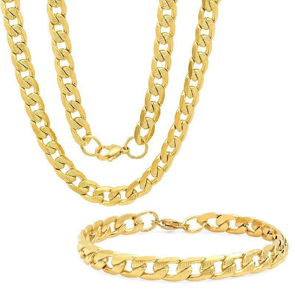 Men's Stainless Steel Cuban Link Chain Bracelet and Necklace Set-Gold Plated Cuban Link-