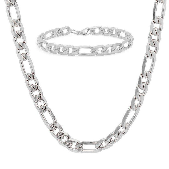 Men's Stainless Steel Cuban Link Chain Bracelet and Necklace Set-Stainless Steel Figaro Set-