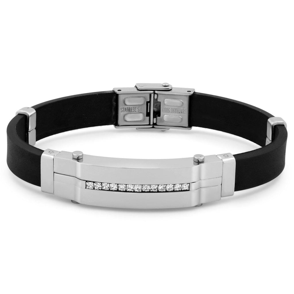 Daily Steals-Men's Stainless Steel Cubic Zirconia ID Bracelet-Jewelry-