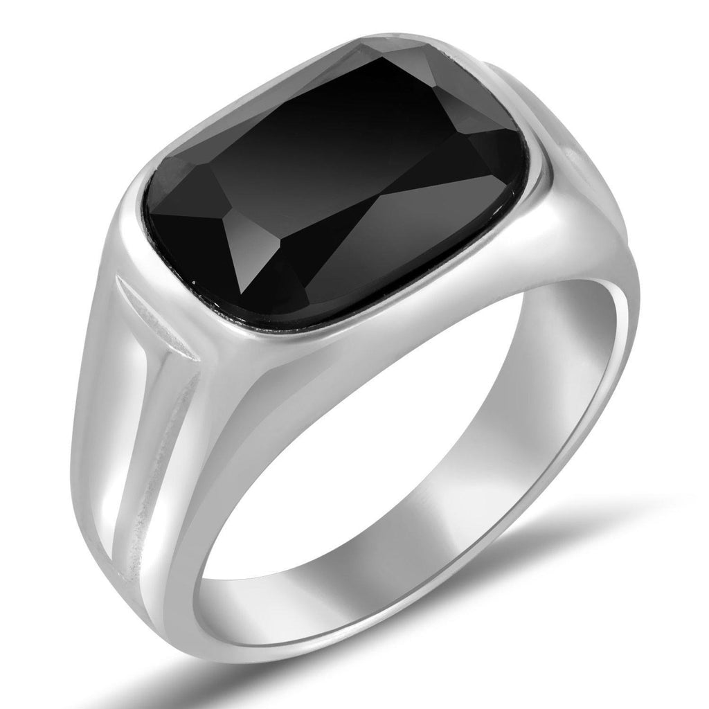 Daily Steals-Men's Stainless Steel W/ Green Stone Ring- 9-Jewelry-Black-9-