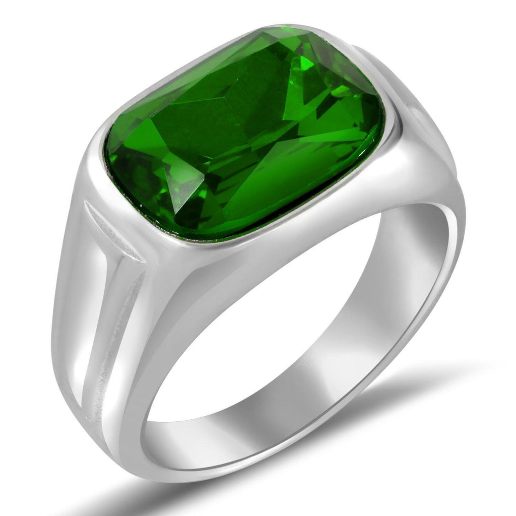 Daily Steals-Men's Stainless Steel W/ Green Stone Ring- 9-Jewelry-Green-9-