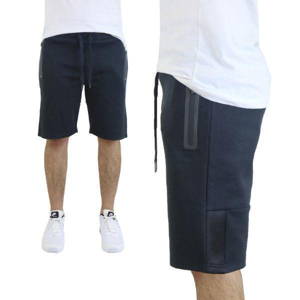 Daily Steals-Men's Tech Fleece Shorts With Zipper Pockets-Men's Apparel-Small-Black w/ Mesh Trim-