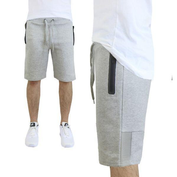 Daily Steals-Men's Tech Fleece Shorts With Zipper Pockets-Men's Apparel-Small-Heather Grey w/ Mesh Trim-
