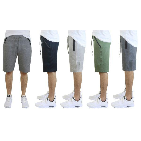 Daily Steals-Men's Tech Fleece Shorts With Zipper Pockets-Men's Apparel-Medium-Heather Grey w/ Mesh Trim-