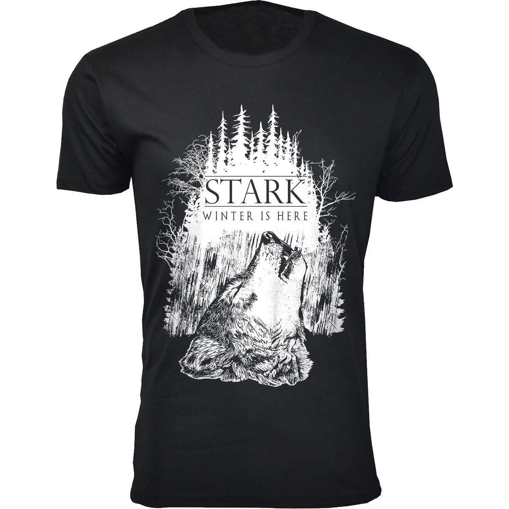 Daily Steals-Men's Thrones and Dragons T-shirts-Men's Apparel-2X-Large-Stark Winter is Here - Black-