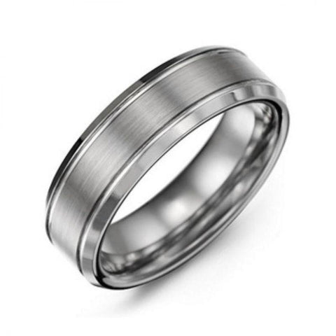 Men's Traditional Tungsten Ring with Brushed Satin Centerpiece-5-