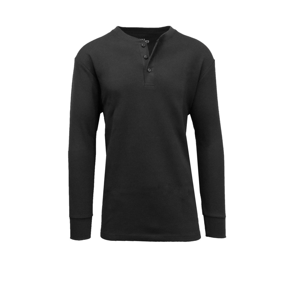 Daily Steals-Men's Waffle-Knit Henley Thermals-Men's Apparel-Black-2X-Large-