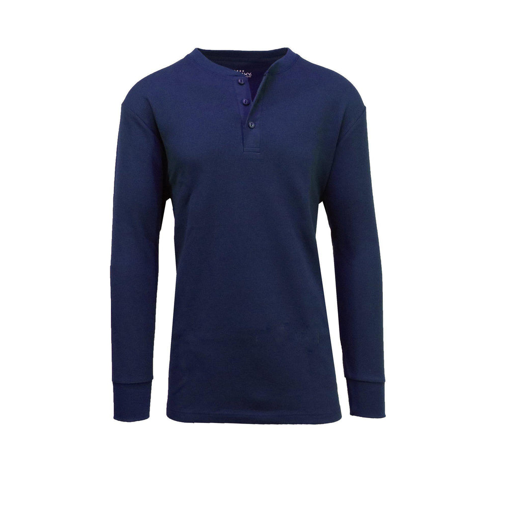 Daily Steals-Men's Waffle-Knit Henley Thermals-Men's Apparel-Navy-2X-Large-