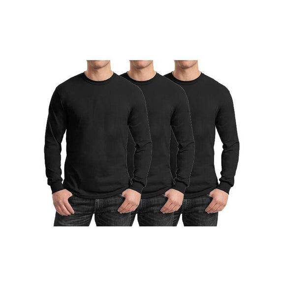 Mens Long Sleeve Crew Neck Tees - 3 Pack-Black & Black & Black-Small-Daily Steals