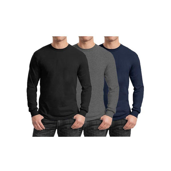 Mens Long Sleeve Crew Neck Tees - 3 Pack-Black & Charcoal & Navy-Small-Daily Steals