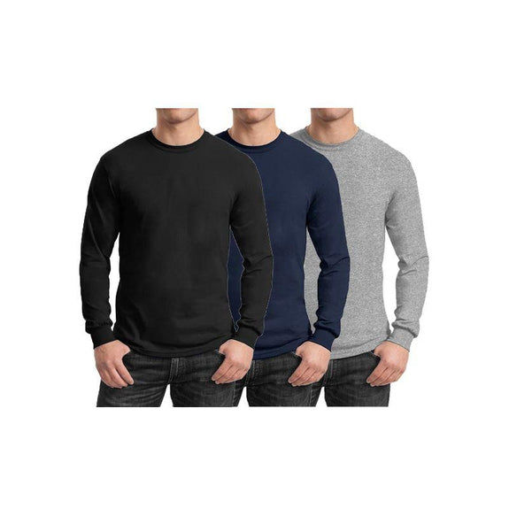Mens Long Sleeve Crew Neck Tees - 3 Pack-Black & Navy & Heather Grey-Small-Daily Steals