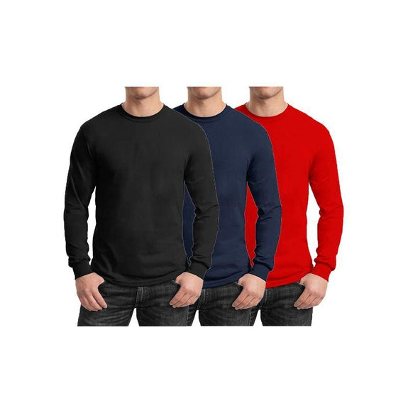 Mens Long Sleeve Crew Neck Tees - 3 Pack-Black & Navy & Red-Small-Daily Steals