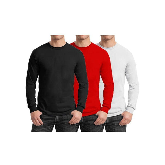 Mens Long Sleeve Crew Neck Tees - 3 Pack-Black & Red & White-Small-Daily Steals