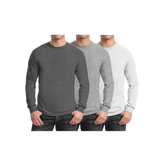 Mens Long Sleeve Crew Neck Tees - 3 Pack-Charcoal & Heather Grey & White-Small-Daily Steals