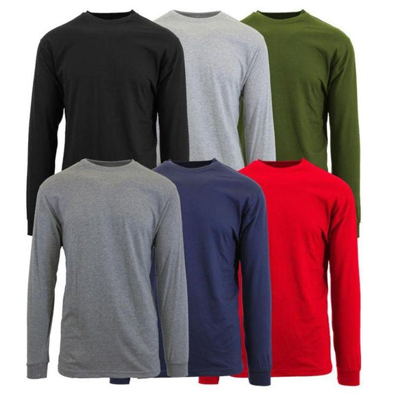 Mens Long Sleeve Crew Neck Tees - 3 Pack-Daily Steals