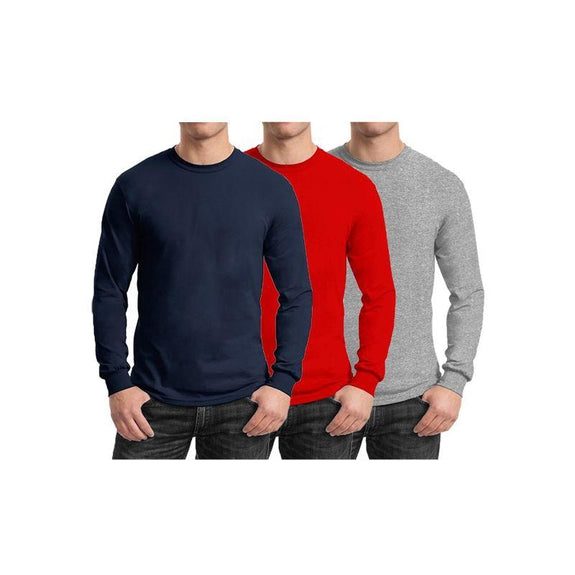 Mens Long Sleeve Crew Neck Tees - 3 Pack-Navy & Red & Heather Grey-Small-Daily Steals