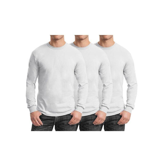 Mens Long Sleeve Crew Neck Tees - 3 Pack-White & White & White-Small-Daily Steals