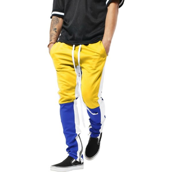 Mens Three Tone Stretch Skinny Fit Zipper Jogger Pants-Navy/Yellow-S-Daily Steals