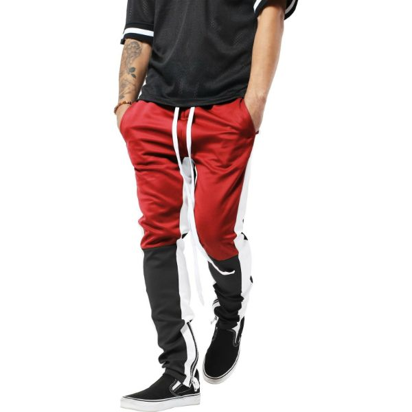 Mens Three Tone Stretch Skinny Fit Zipper Jogger Pants-Red/Black-S-Daily Steals