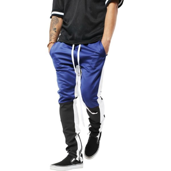 Mens Three Tone Stretch Skinny Fit Zipper Jogger Pants-Blue/Black-S-Daily Steals