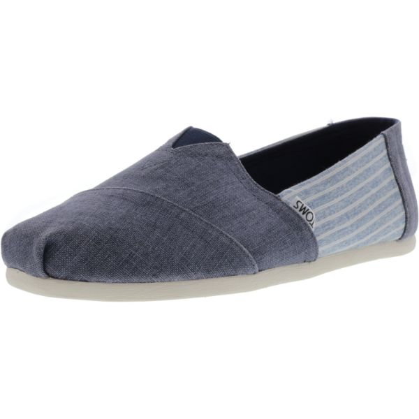 Toms Men's Classic Coated Linen Deep Ocean Stripe Canvas Slip-On Shoes-10.5-Daily Steals