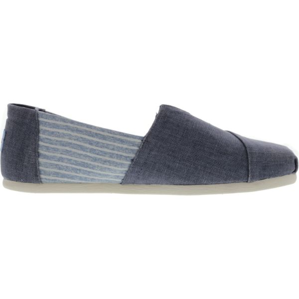 Toms Men's Classic Coated Linen Deep Ocean Stripe Canvas Slip-On Shoes-Daily Steals