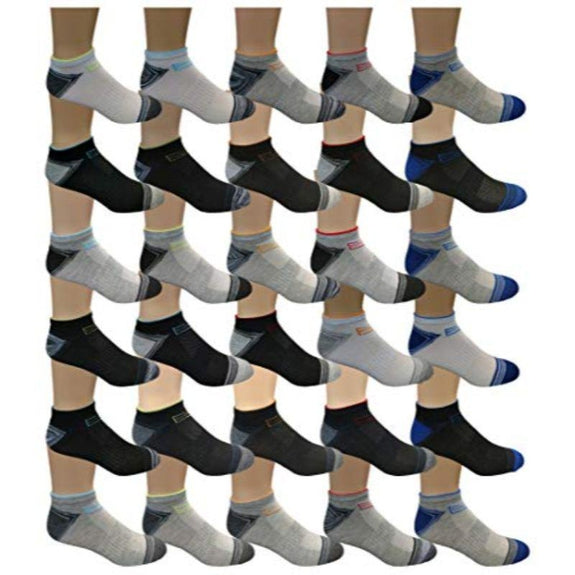 Men's Assorted Low Cut Socks - 30 Pairs-Daily Steals