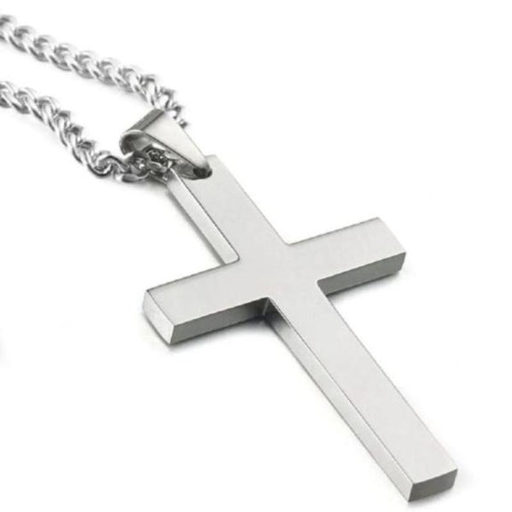 Stainless Steel Drop Cross Mens Necklace-Daily Steals