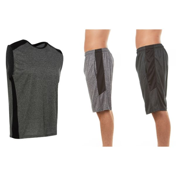 Men's Active Athletic Dry Fit Shorts With Top Set - 3 Pack-Small-Daily Steals