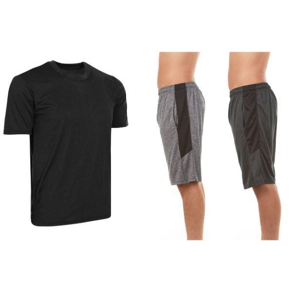 Men's Active Athletic Dry Fit Shorts With Top Set - 3 Pack-Daily Steals